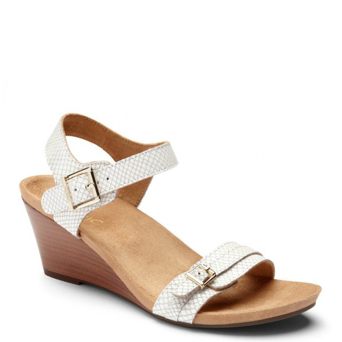 Vionic Women's Laurie Wedge Sandal - White Snake