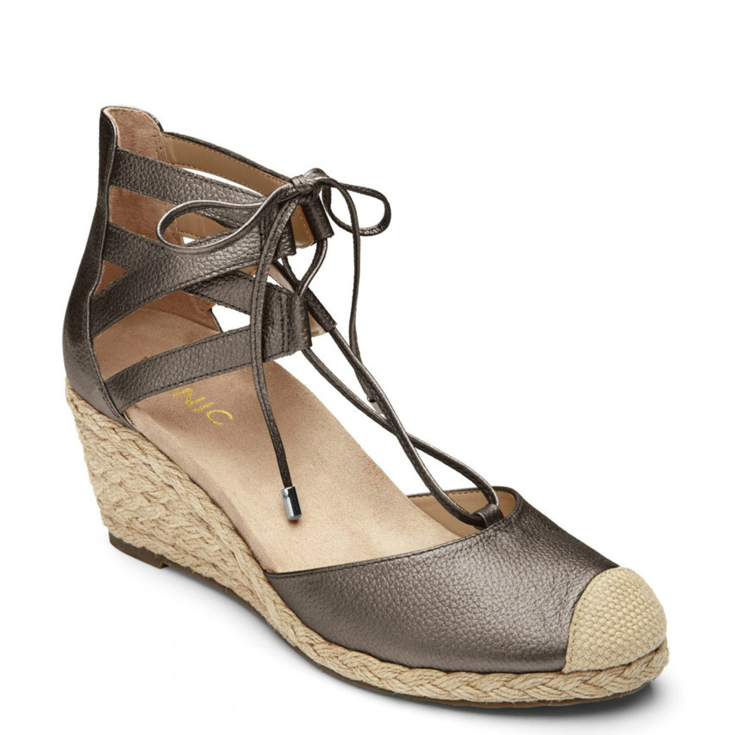 e4a222444215 Vionic Women's Calypso Espadrille Wedge - Pewter - ShoeShackOnline