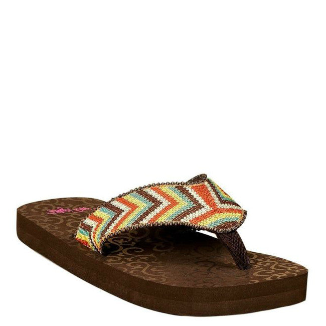 Blazin Roxx Women's Angie Flip Flop - Brown Multi 4119497 - ShoeShackOnline