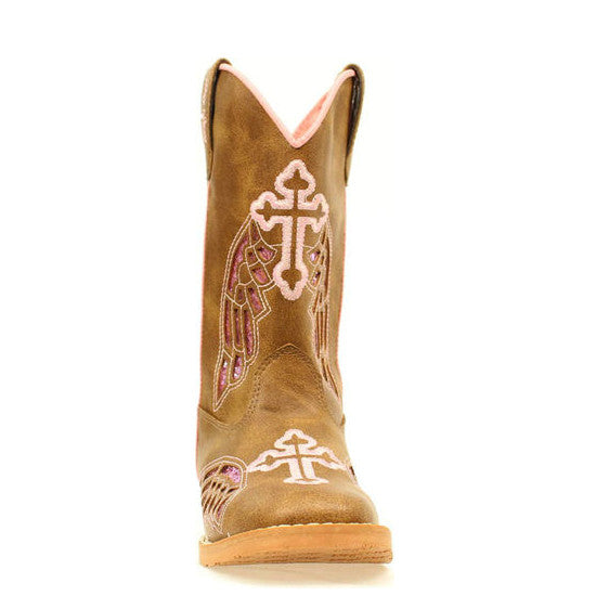 Blazin Roxx Kid's Gracie Wings & Cross Western Boot - Tan/Pink 4453202 - ShoeShackOnline