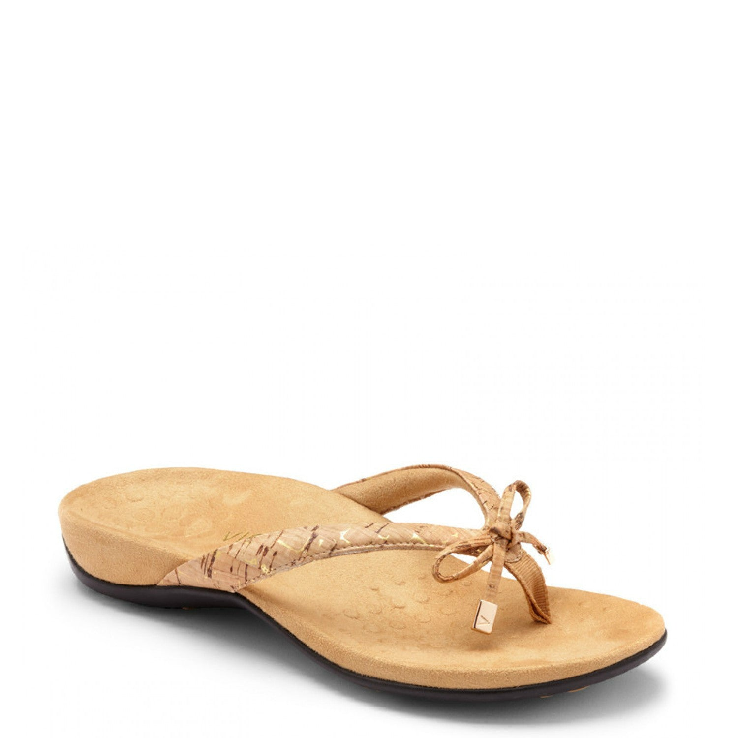 073e571d9232 Vionic Women s Bella II Toe-Post Sandal - Gold Cork - ShoeShackOnline