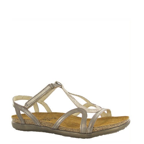 Naot Women's Dorith Sandal - Beige Snake/Pewter Leather 04710 - ShoeShackOnline