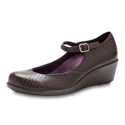 Vionic Women's Amelia Mary Jane Wedge - Chocolate 48Amelia - ShoeShackOnline