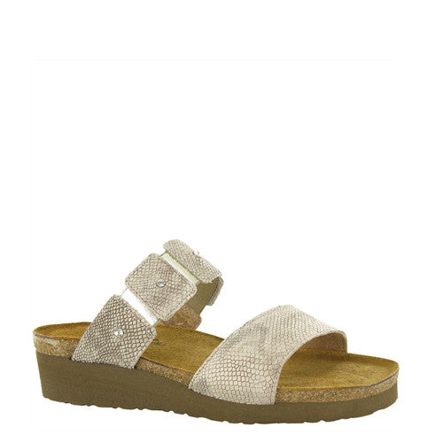 Naot Women's Ashley Slide Sandal - Beige Snake Leather 4906 - ShoeShackOnline