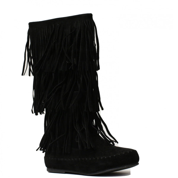 206833541 Pierre Dumas Girl s Apache-6 Fringe Boot - Black 49902-401 - ShoeShackOnline