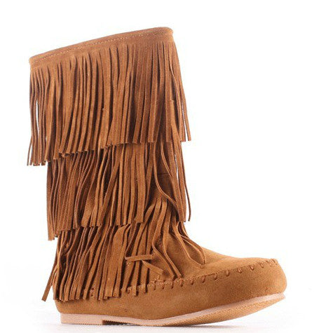 Pierre Dumas Girl's Apache-6 Fringe Boot - New Tan 49902-420