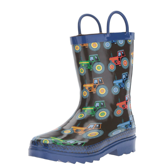 Double Barrel Kid's Tractor Rain Boots - Black/Blue 58162 - ShoeShackOnline