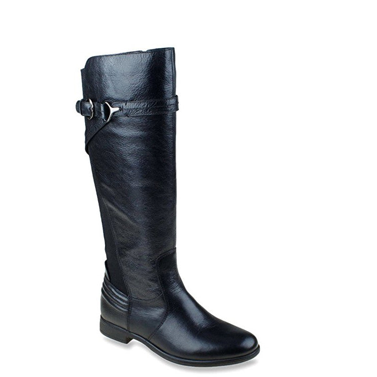 Earth Women's Woodstock Leather Riding Boot - Black 601164 - ShoeShackOnline