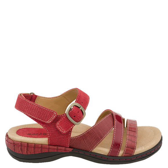 Earth Women's Aster Leather Sandal - Red Croco 601456WCRC