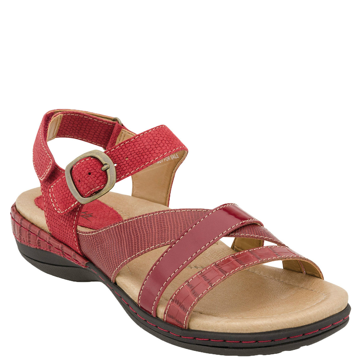 Earth Women's Aster Leather Sandal - Red Croco 601456WCRC - ShoeShackOnline