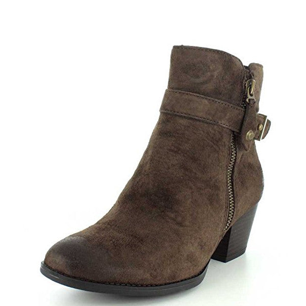 Earth Women's Royal Suede Side Zip Bootie - Chestnut Brown 601633 - ShoeShackOnline