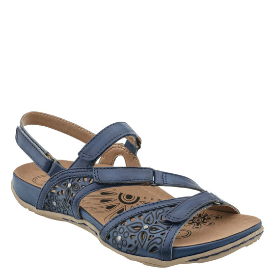 Earth Women's Maui Cutout Floral Sandal - Parisian Blue 601792WLEA - ShoeShackOnline