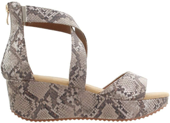 Corkys Women's Fay Strappy Wedge Sandal Taupe Snake 30-5357