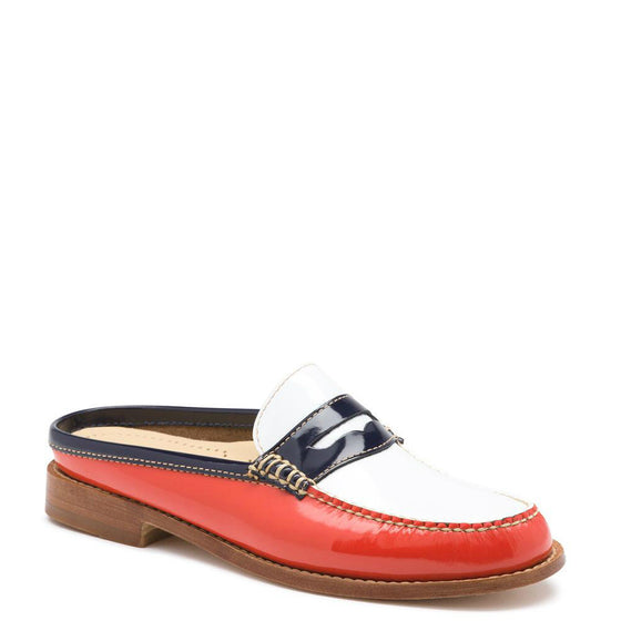 Bass Women's Weejuns Wynn Patent Leather Mule - Poppy/White Patent 71-22869