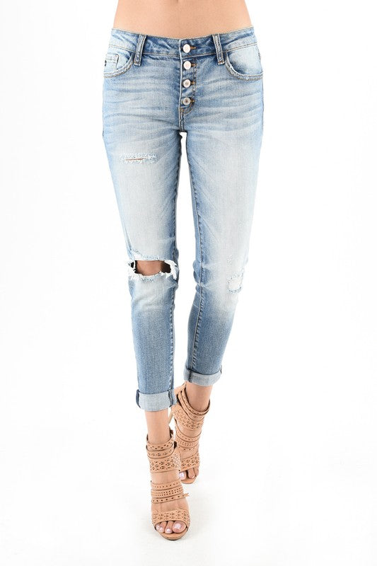 Women's Kan Can Mid Rise Double Fold Hem Jeans KC5118D