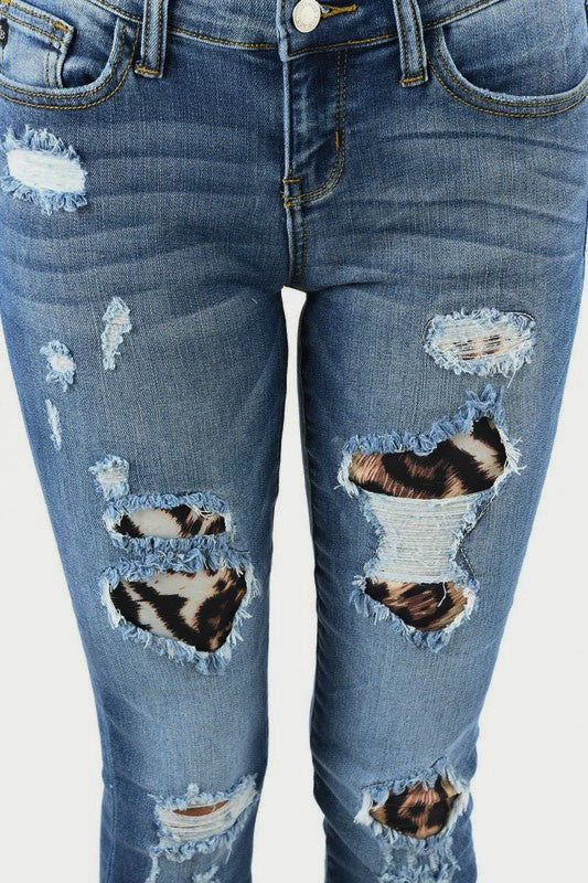 Judy Blue Women's Leopard Patch Skinny Jeans