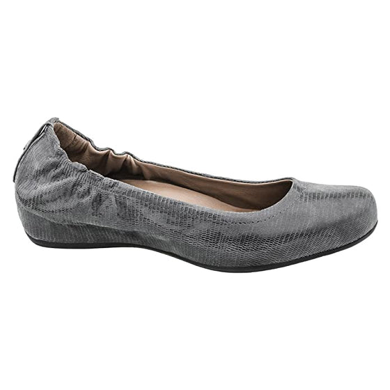 Earth Women's Tolo Ballet Flat - Dark Grey Printed Suede 801421WPRT