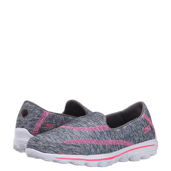 Skechers Girl's Go Walk 2 Relay - Gray/Hot Pink 81069L