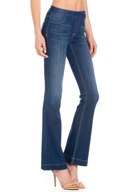 Cello Women's Mid Rise Flare Jeggings - ShoeShackOnline