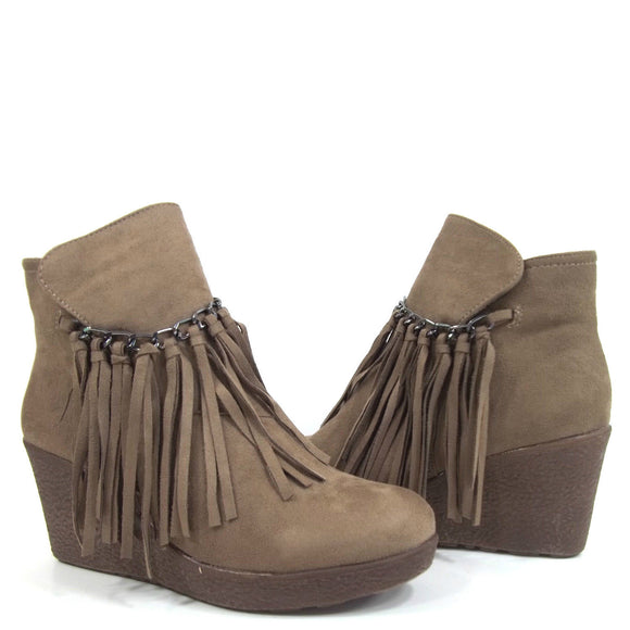 Pierre Dumas Women's Candy-1 Short Suede Fringe Bootie - Taupe 89772-434