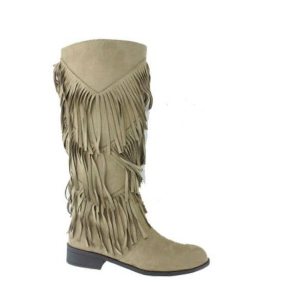 Pierre Dumas Women's City-5 Tall Fringe Boot - Taupe 89797-434