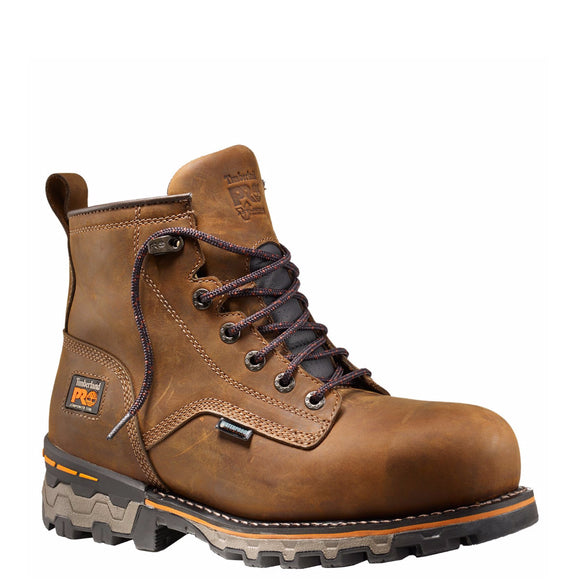 "Timberland Pro Men's Boondock 6"" Composite Toe Work Boots - Brown Distressed A127G - ShoeShackOnline"