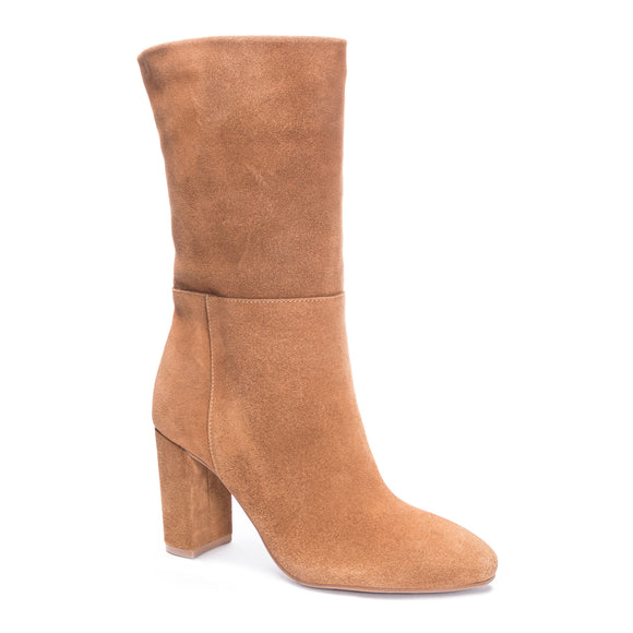 Chinese Laundry Women's Keep Up Suede Bootie Honey Brown