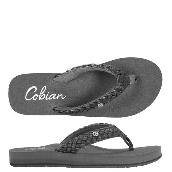 Cobian Women's Braided Bounce Flip Flops - Charcoal BRB10-010 - ShoeShackOnline