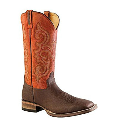 Old West Men's Broad Square Toe Western Boots - Brown/Orange BSM1856 - ShoeShackOnline