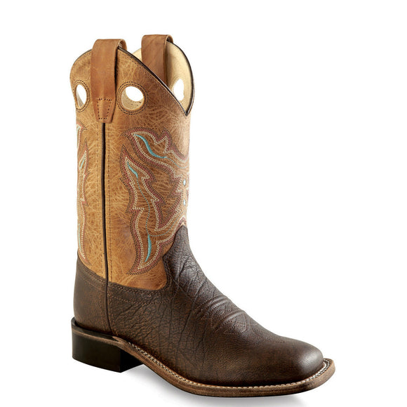 Old West Youth Broad Square Toe Boots - Brown/Tan BSY1819