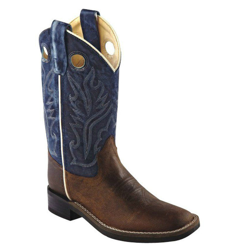 Old West Kid's Ultra-Flex Broad Square Toe Western Boots - Brown/Blue BSY1884