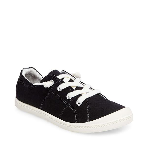 Madden Girl Women's Baailey Canvas Lace Up Sneaker - Black - ShoeShackOnline