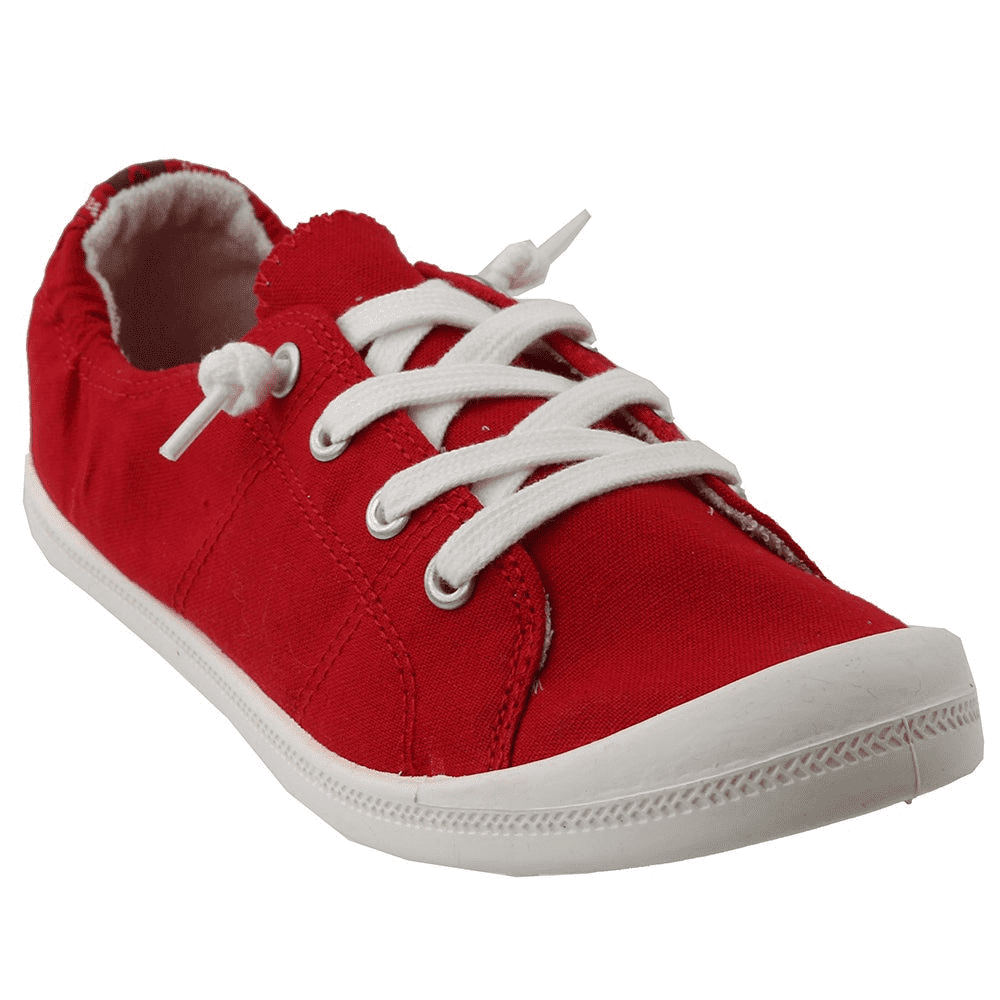 Madden Girl Women's Baailey Canvas Lace Up Sneaker - Red - ShoeShackOnline
