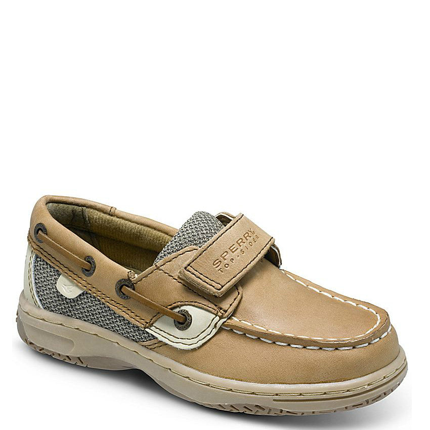 Sperry Kid's Bluefish Hook & Loop Boat Shoe - Linen/Oat CG23579 - ShoeShackOnline
