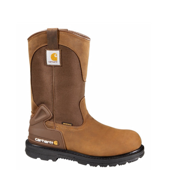"Carhartt Men's 11"" Safety Toe Wellington - Bison Brown CMP1200 - ShoeShackOnline"