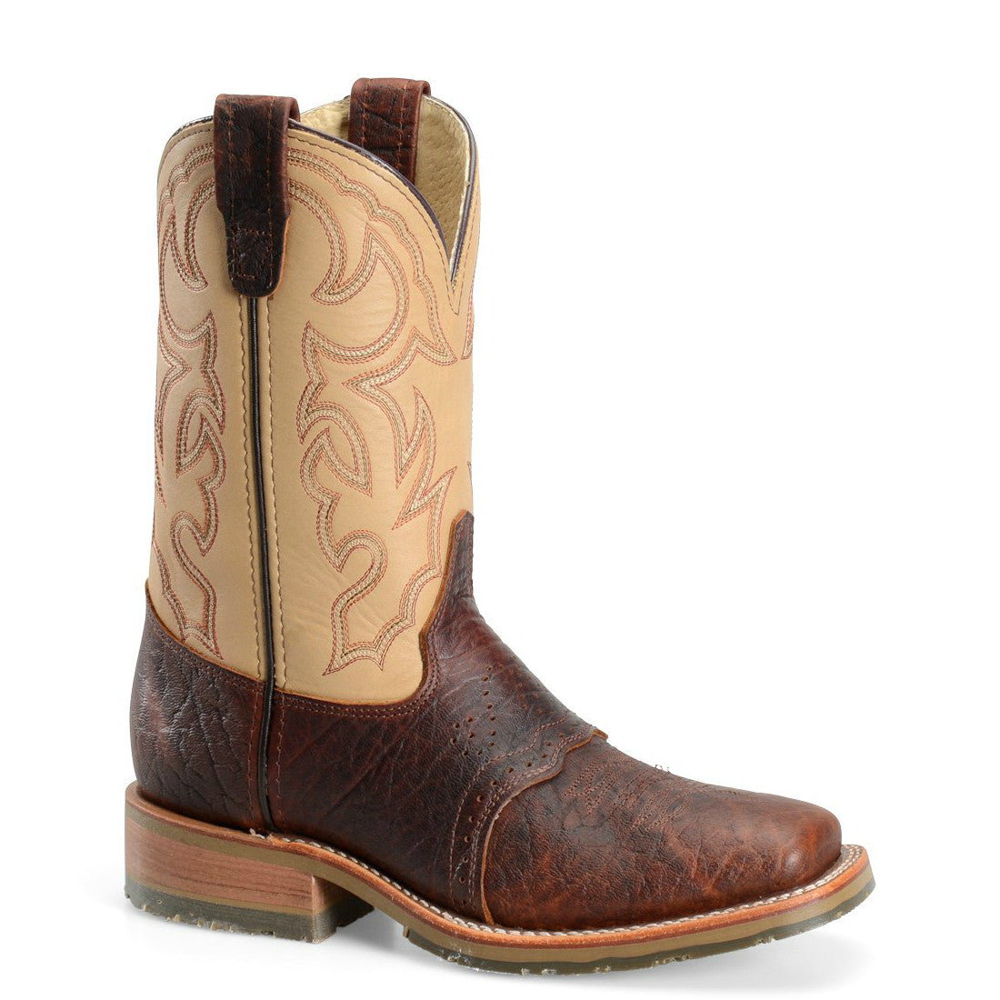 "Double H Men's 11"" Domestic Bison Wide Square Toe ICE™ Roper - Brown DH4305 - ShoeShackOnline"