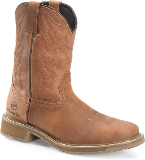 "Double H Men's 10"" Workflex Wide Square Composite Toe Roper - Tan DH5143 - ShoeShackOnline"
