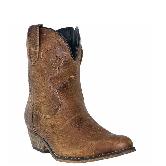 "Dingo Women's Adobe Rose 7"" Western Bootie - Light Brown DI692 - ShoeShackOnline"
