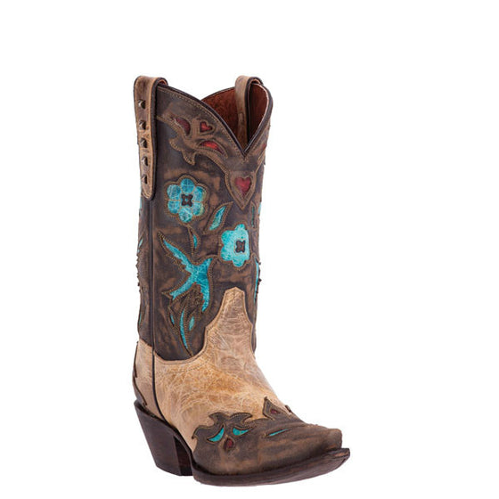 "Dan Post Women's Vintage Bluebird 11"" Western Boot - Beige DP3538 - ShoeShackOnline"
