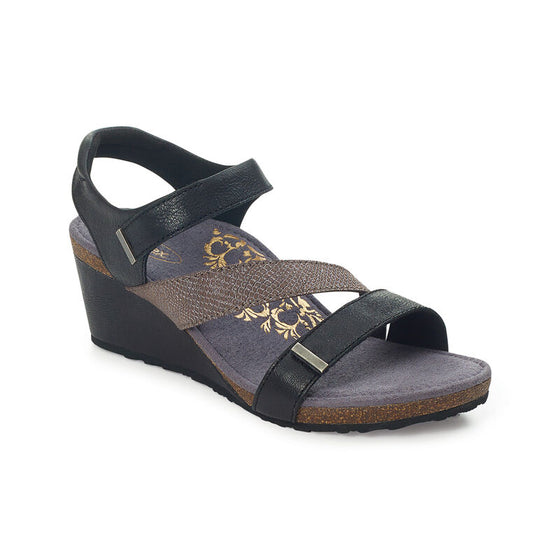 Aetrex Women's Brynn Quarter Strap Wedge Sandal - Black EW110W - ShoeShackOnline