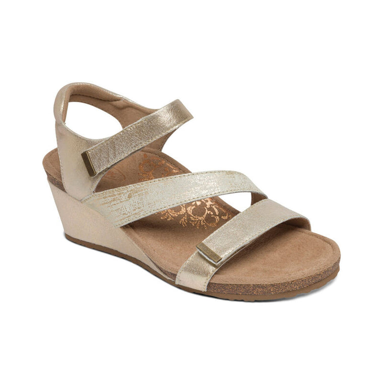 Aetrex Women's Brynn Quarter Strap Wedge Sandal - Gold EW111W - ShoeShackOnline