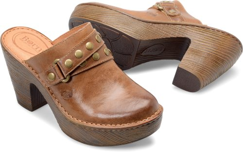 Born Women's Marney Leather Platform Clog - Natural F05502