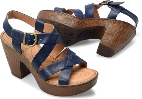 Born Women's Greccia Strappy Heel - Navy F23134 - ShoeShackOnline