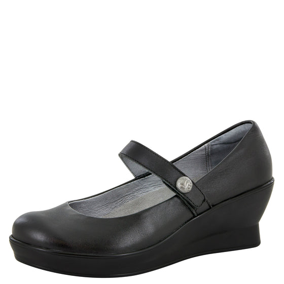 Alegria Women's Flair Mary Jane Wedge - Black FLA-601 - ShoeShackOnline