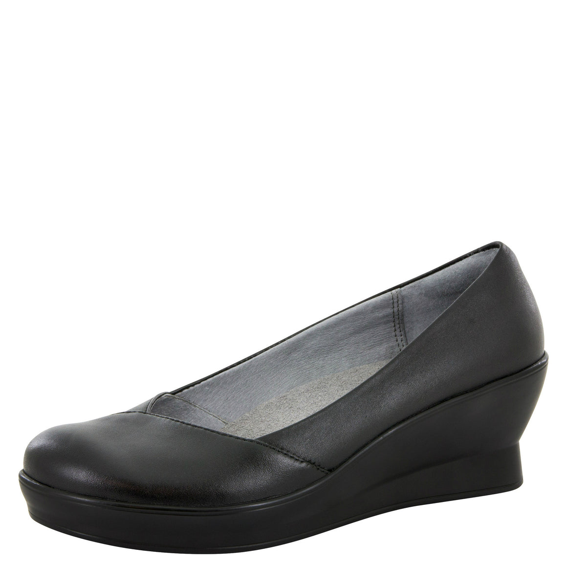 Alegria Women's Flirt Slip-On Wedge - Black Nappa FLI-601 - ShoeShackOnline