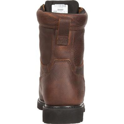 "Rocky Men's 8"" Exertion Waretproof Steel Toe Work Boot - Brown FQ0006899 - ShoeShackOnline"