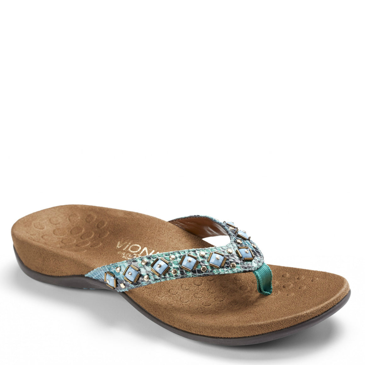 Vionic Women's Floriana Toe-Post Sandal - Teal Snake