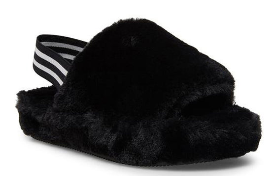 Steve Madden Women's Fuzz Slippers - Black FUZZ01S1 - ShoeShackOnline