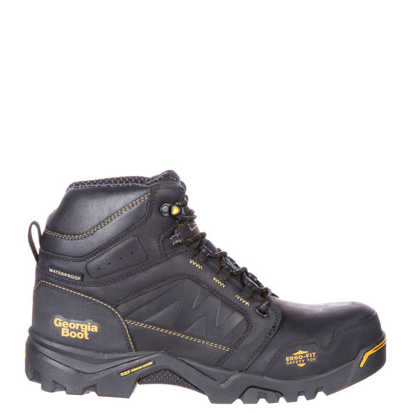 "Georgia Men's 6"" Amplitude Composite Toe Waterproof Work Boot - Black GB00130 - ShoeShackOnline"