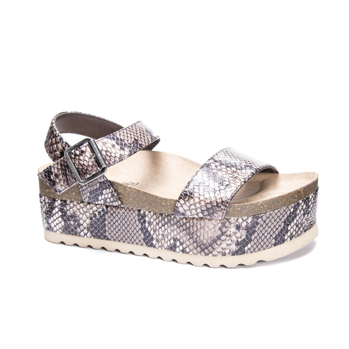 Dirty Laundry Women's Palms Platform Sandal - Lt. Brown Snake